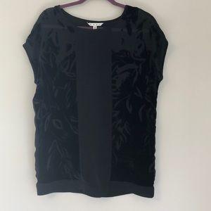 CAbi XS oversized sheer and velvet black shirt